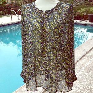 Lane Bryant 26/28 floral tunic blouse EUC pretty
